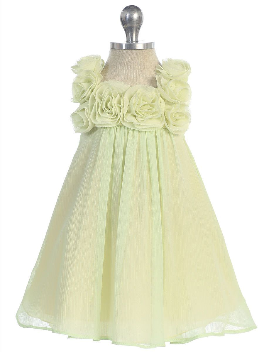 Lovely yellow chiffon dress with d rosettes wedding dressesideas