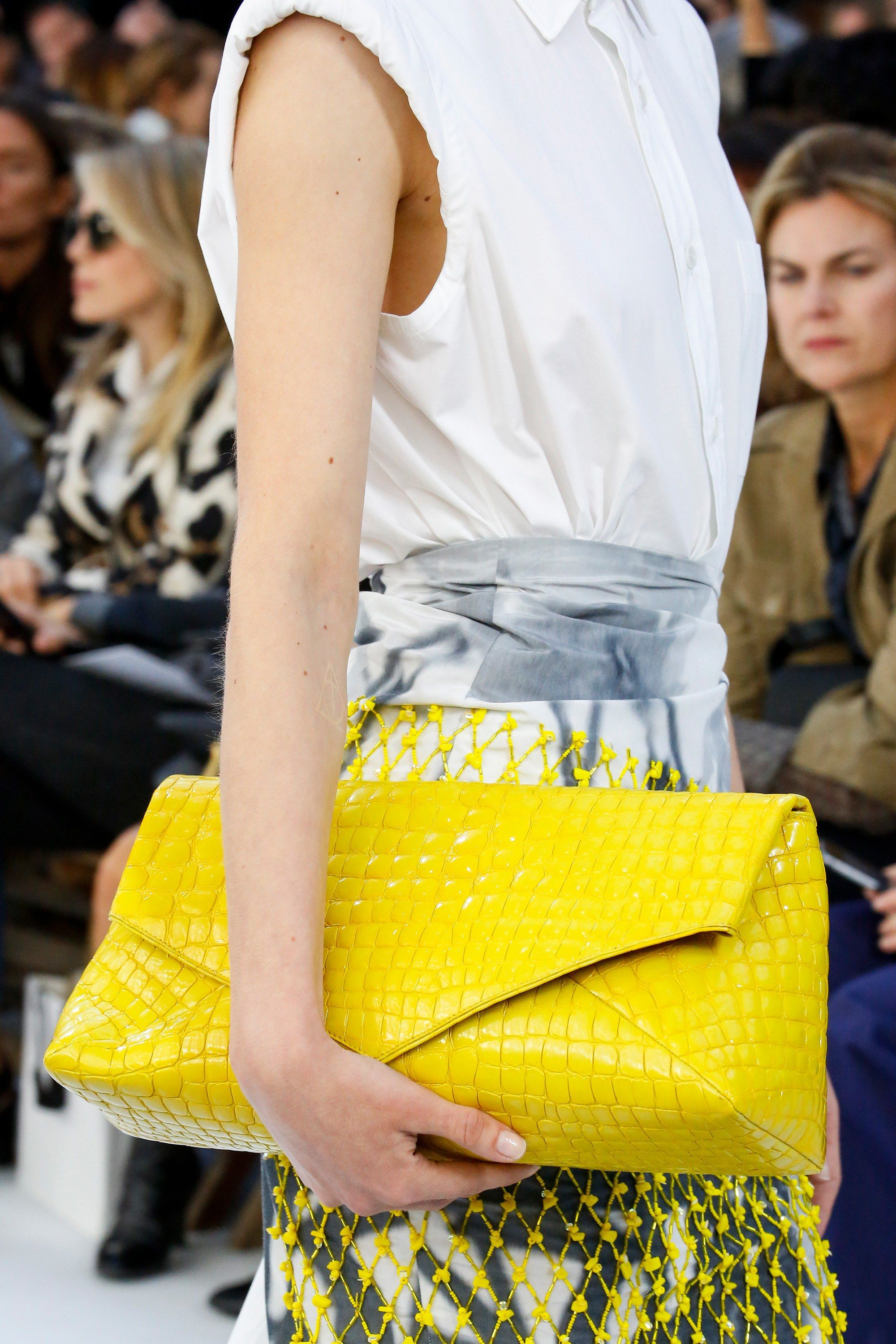 03423f8fb640  DriesVanNoten  Spring 2019 Ready-to-Wear Collection - Vogue  crocodile   yellow  clutch  purse