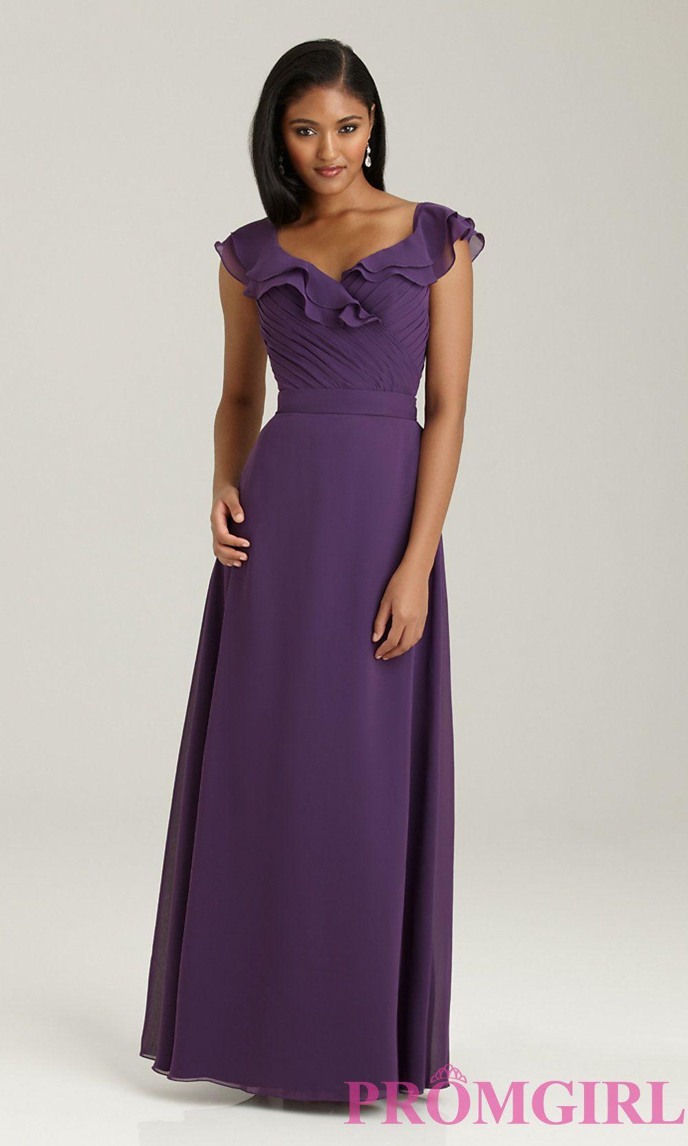 Long V-Neck Bridesmaids Dress with Cap SleevesNM-1304