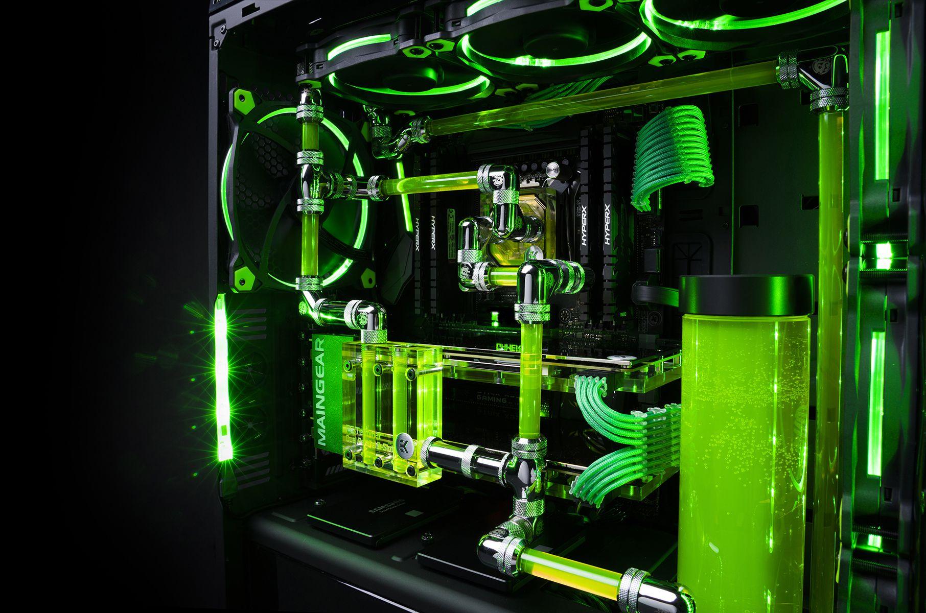 The glowing green liquid in this RazerMaingear gaming PC