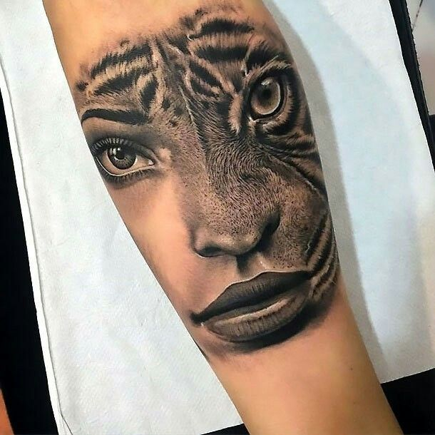 Half Woman Half Tiger Face Tattoo For Forearm Tattoo Forearm