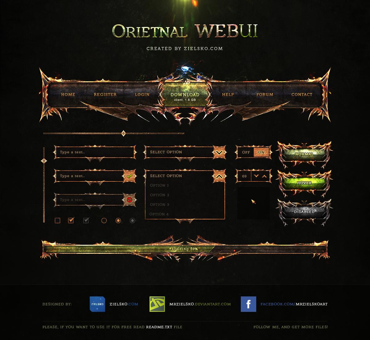 Oriental WEBUI Free PSD by MrZielsko Game Art GUI