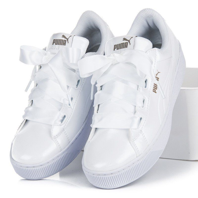 Tenisowki Damskie Puma Biale Puma Vikky Platform Ribbon P Puma Vikky Platform White Sneaker Puma
