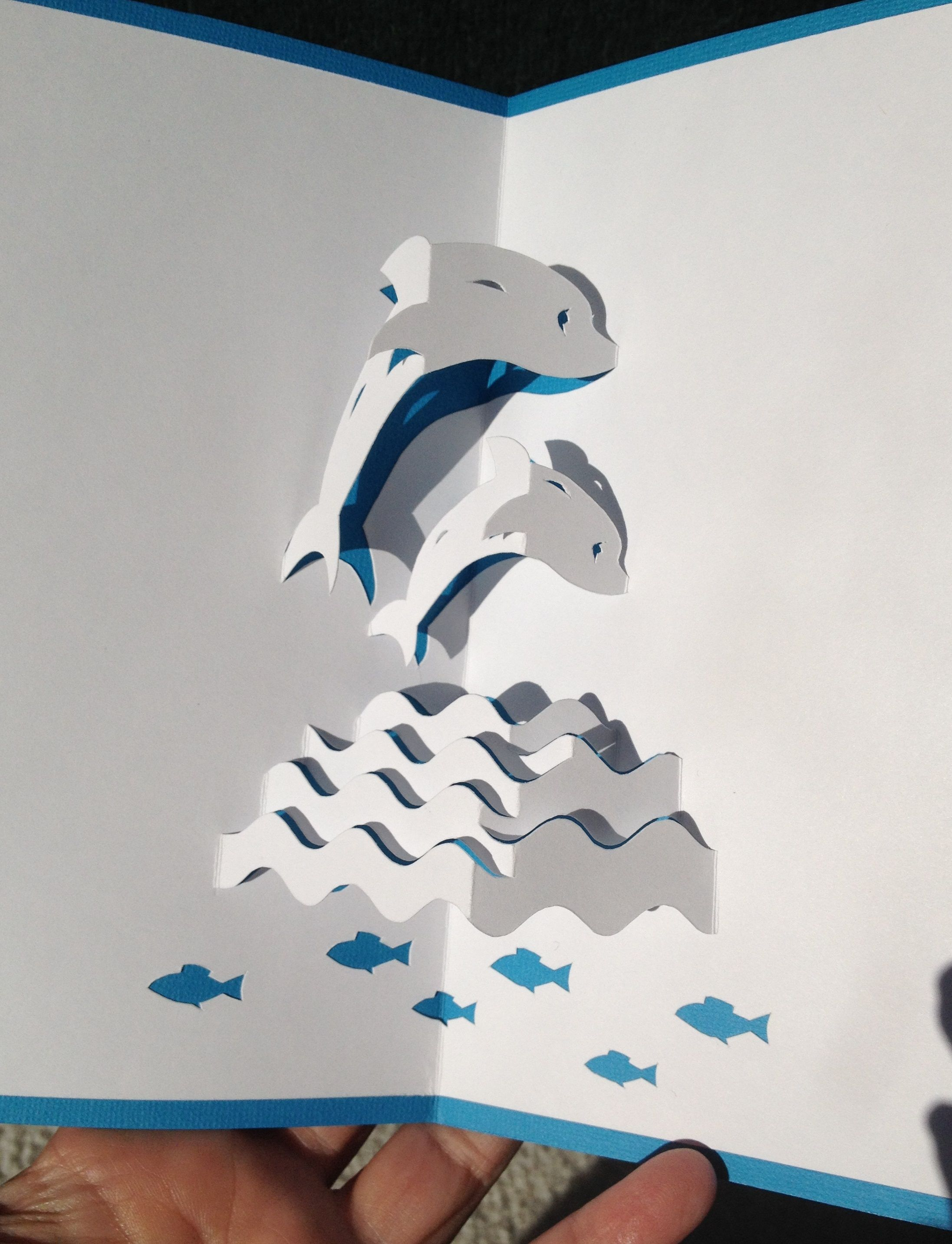 Dolphins In The Waves Pop Up Card Pop Up Art Pop Up Cards Origami Paper Art