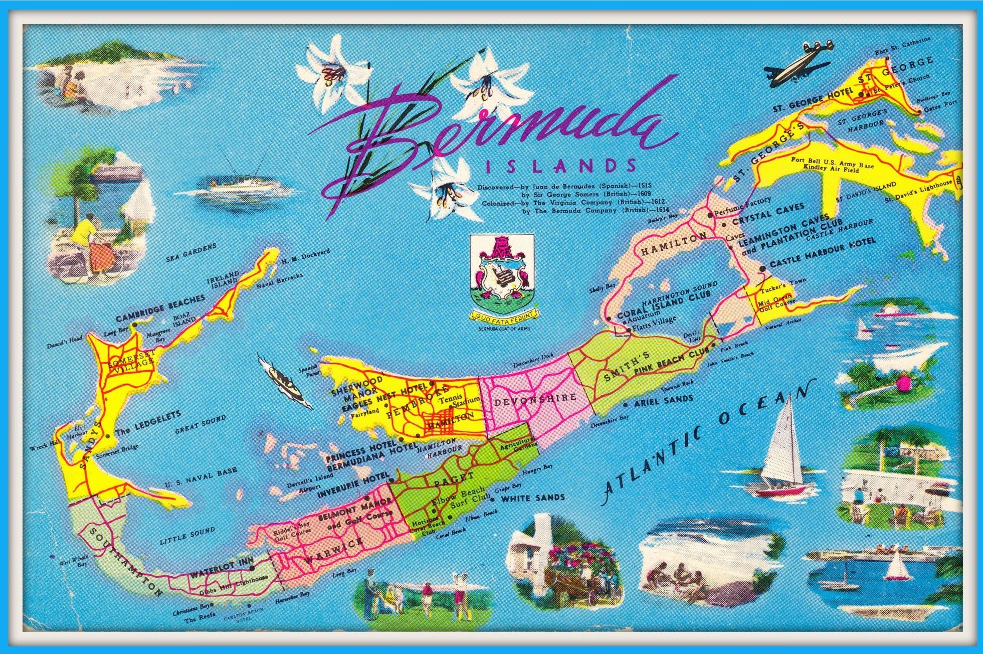 1968 - Bermuda map with hotels | Bermuda in 2019 | Bermuda ...