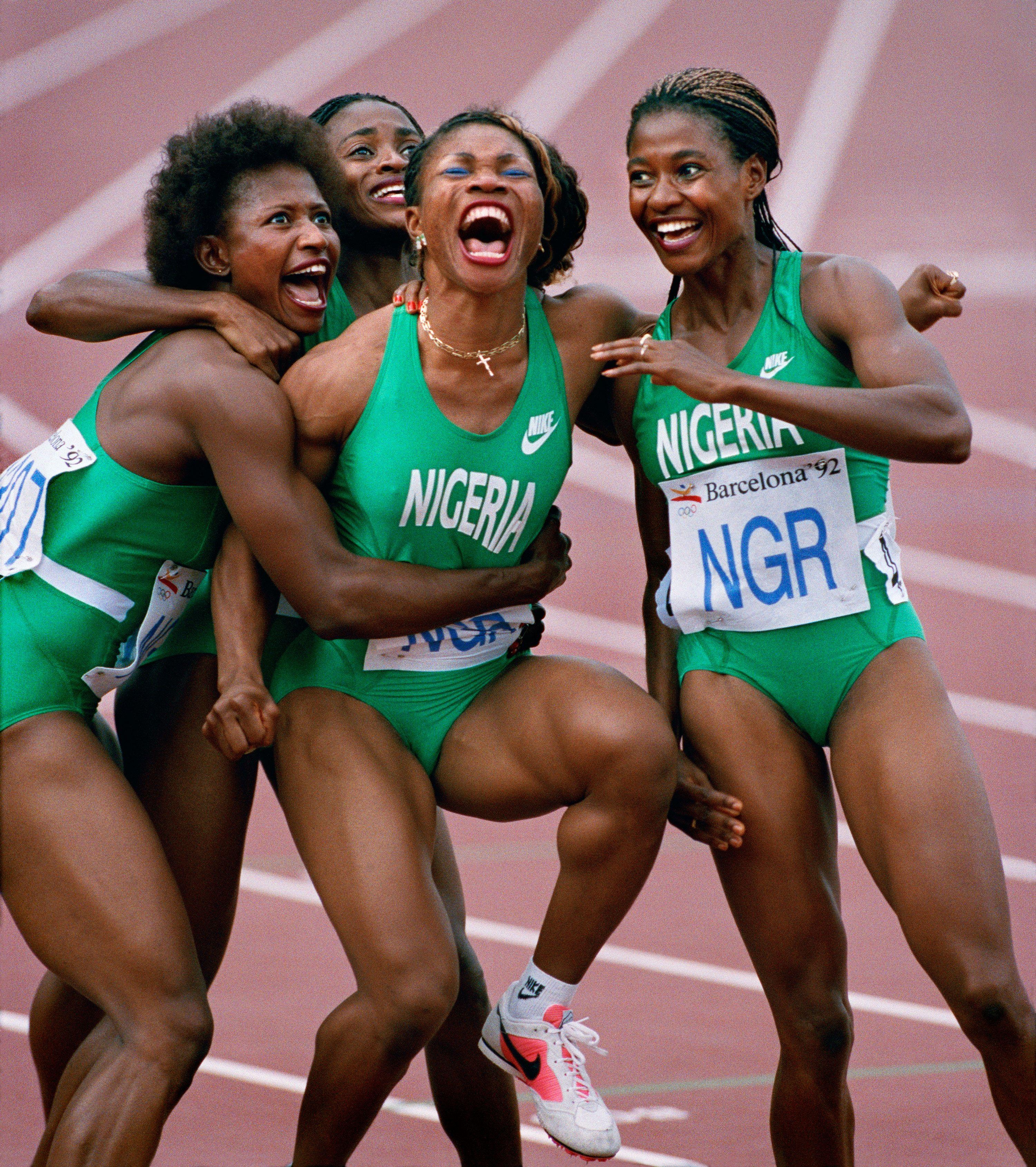 Ken Geiger (American, born 1957). Nigerian Relay Team, Olympics, Barcelona, 1992, printed 2016. Inkjet print, 177/16 x 195/8 in. (44.3 x 49.9 cm). Courtesy of Ken Geiger/The Dallas Morning News