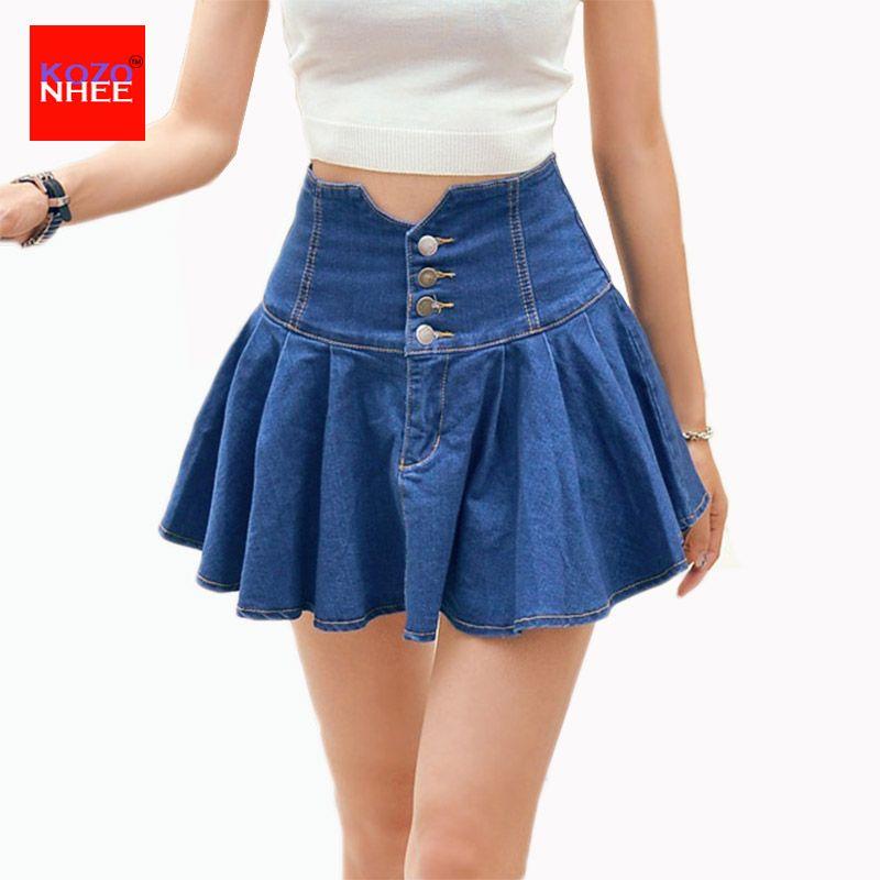 Women's Korean Style Mini Jeans denim Skirt Women High Waist Mini ...