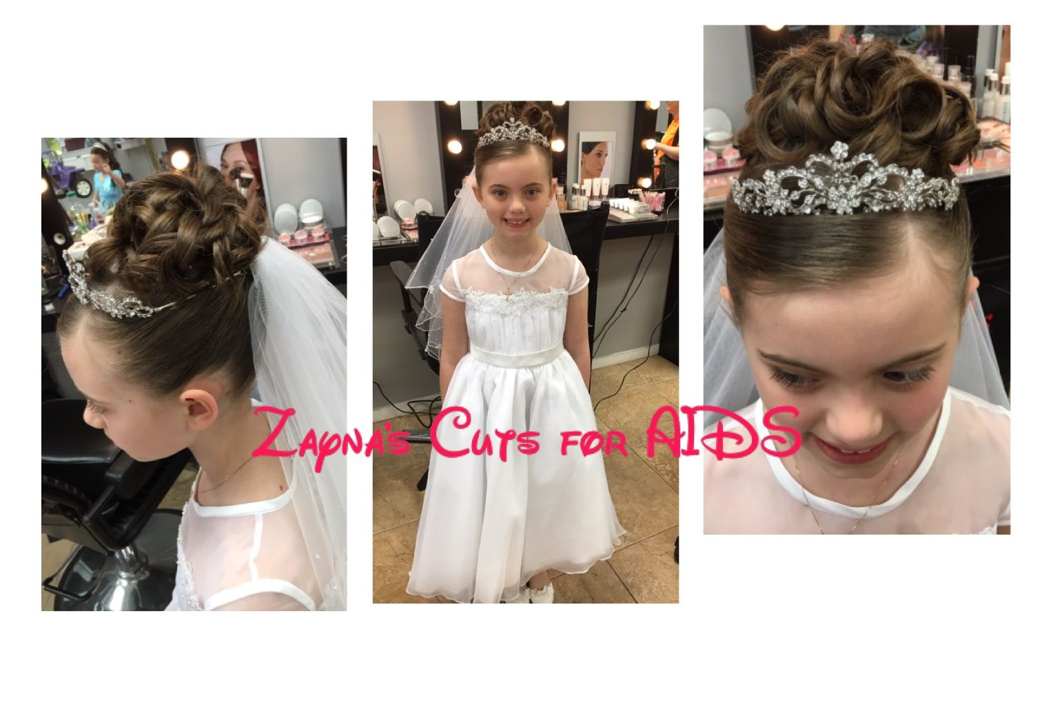 First Communion Hairstyle Updo Curls Veil First Communion Hairstyles Kids Hair Salon Communion Hairstyles