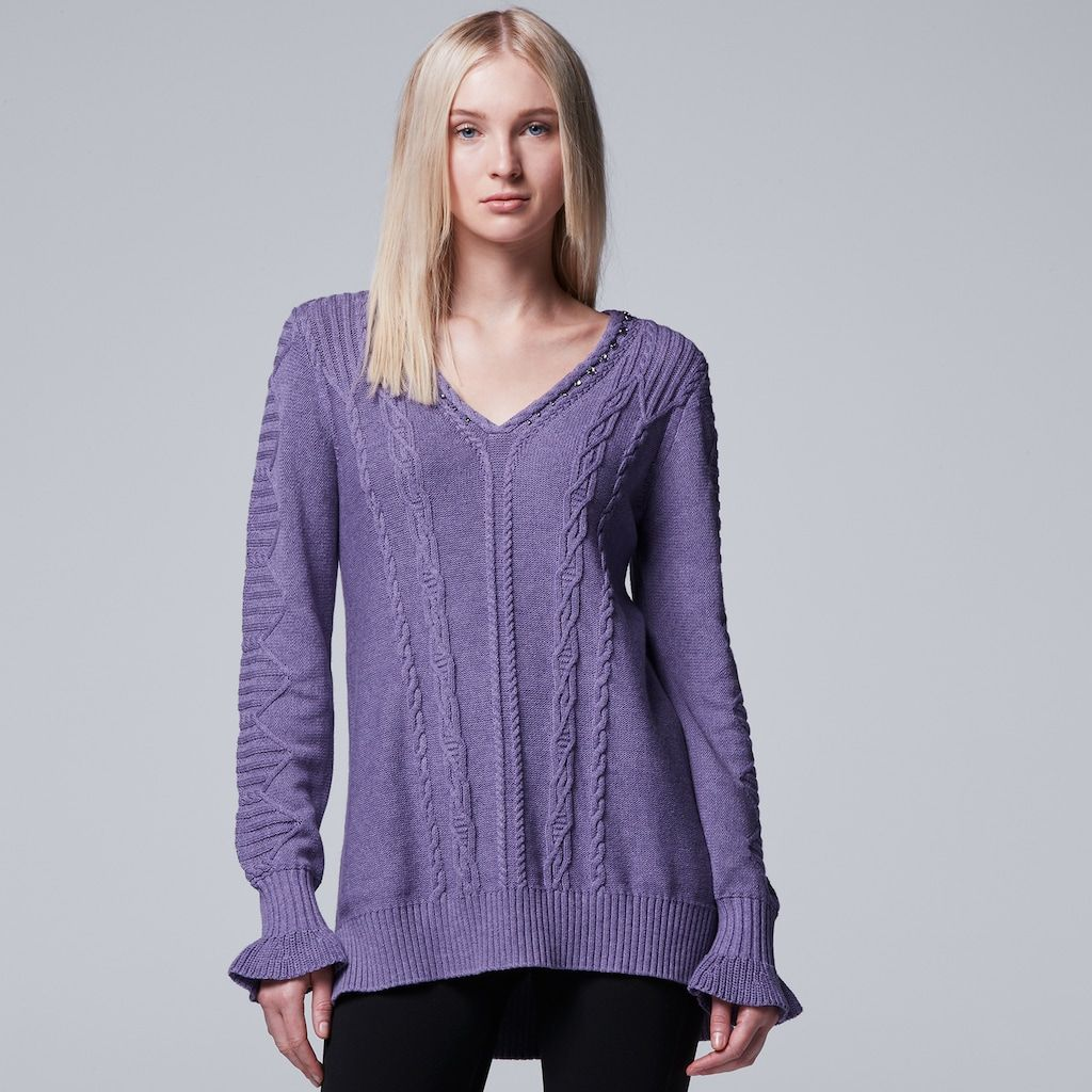 Women's Simply Vera Vera Wang Cable Knit V-Neck Sweater, Size: XS ...