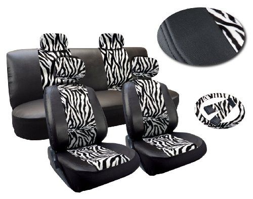 White Zebra Deluxe Leatherette 13pc Full Car Seat Cover Set Premium Synthetic Leather Double Stitched - Low Back Front Bucket Seats - Rear Bench - Steering Wheel Set - 4 Headrests