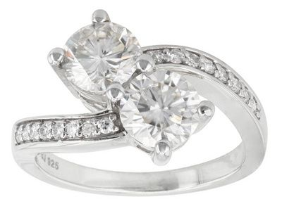 Moissanite Fire Tm 2 16ctw Diamond Equivalent Weight Round Brilliant Platineve Tm Bypass Ring Jewelry Three Stone Engagement Rings Moissanite Rings