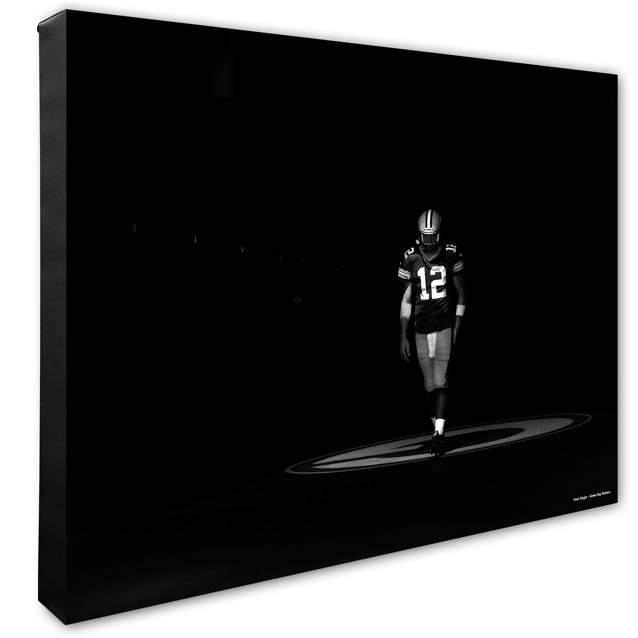 Packers Black White Aaron Rodgers Tunnel Canvas Black And White Canvas Black
