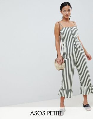 DESIGN cotton frill hem jumpsuit with square neck and button detail in stripe - Multi Asos Sale Looking For Factory Outlet Sale From China Original Buy Online With Paypal DIJgw