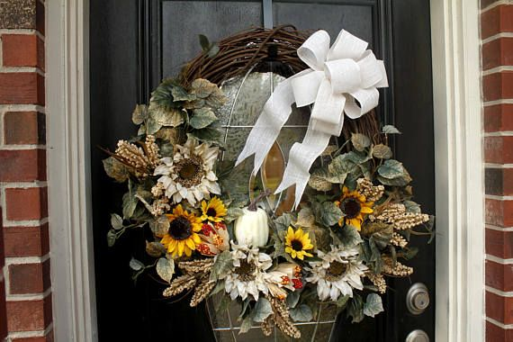Fall Grapevine Wreath, Yellow and White Sunflowers, Front Door Wreath, Autumn Wreath, Burlap Bow, Home Decor, Pumpkin, Housewarming Gift
