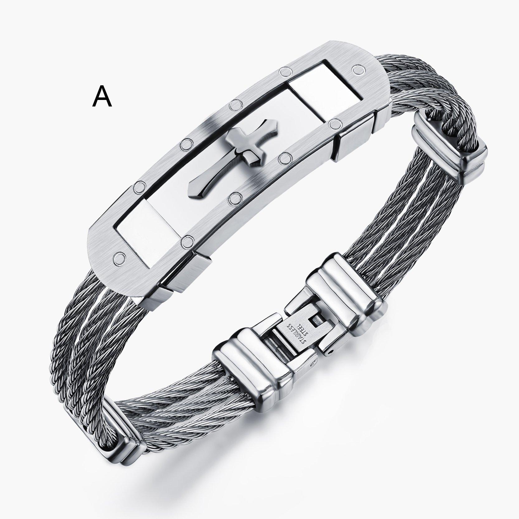 Fashion men bracelet cross stainless steel rows wire chain in