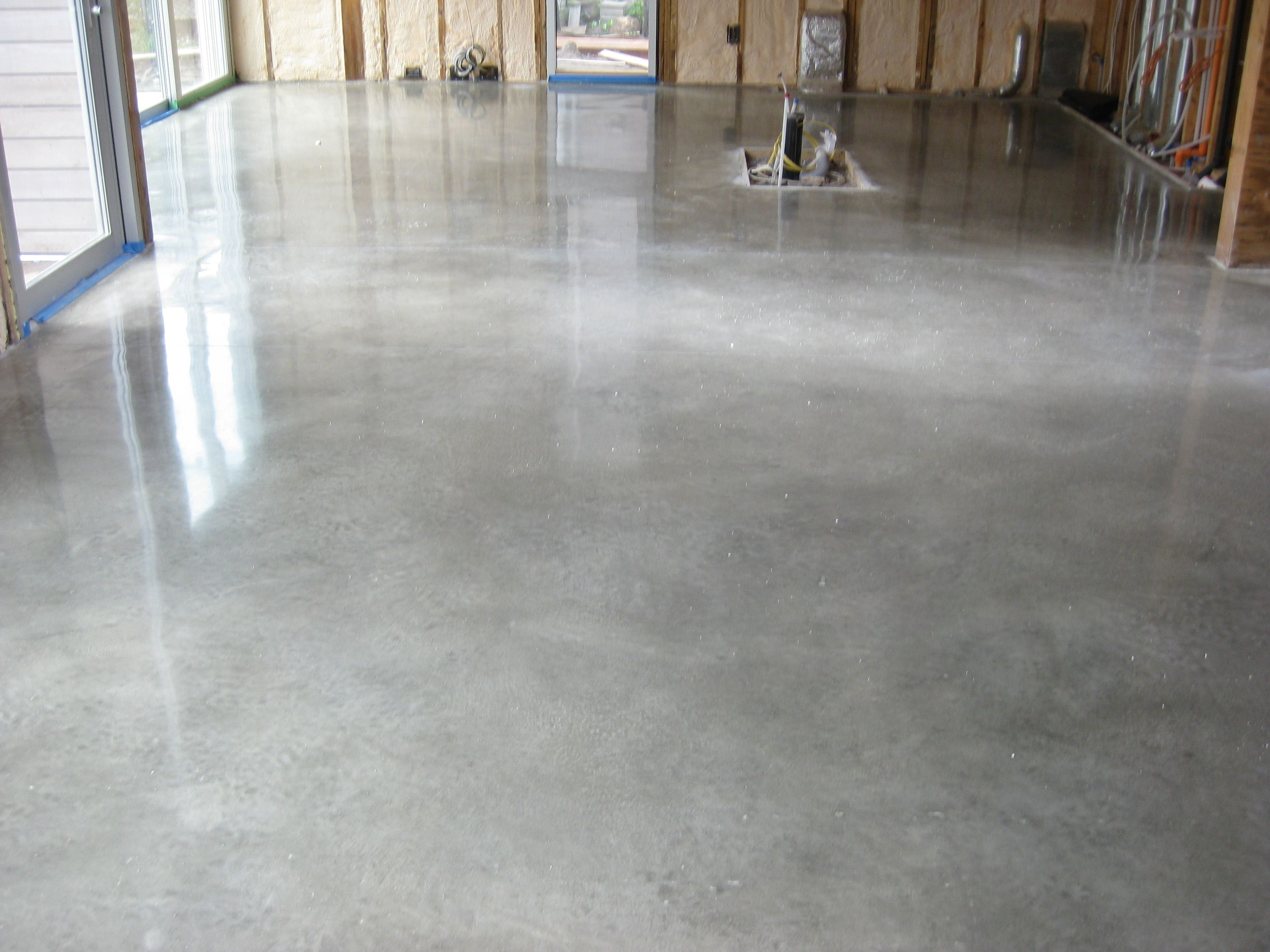 Poured Concrete Kitchen Floor Polished Concrete Honed But Not Grinded Potentially A Week To