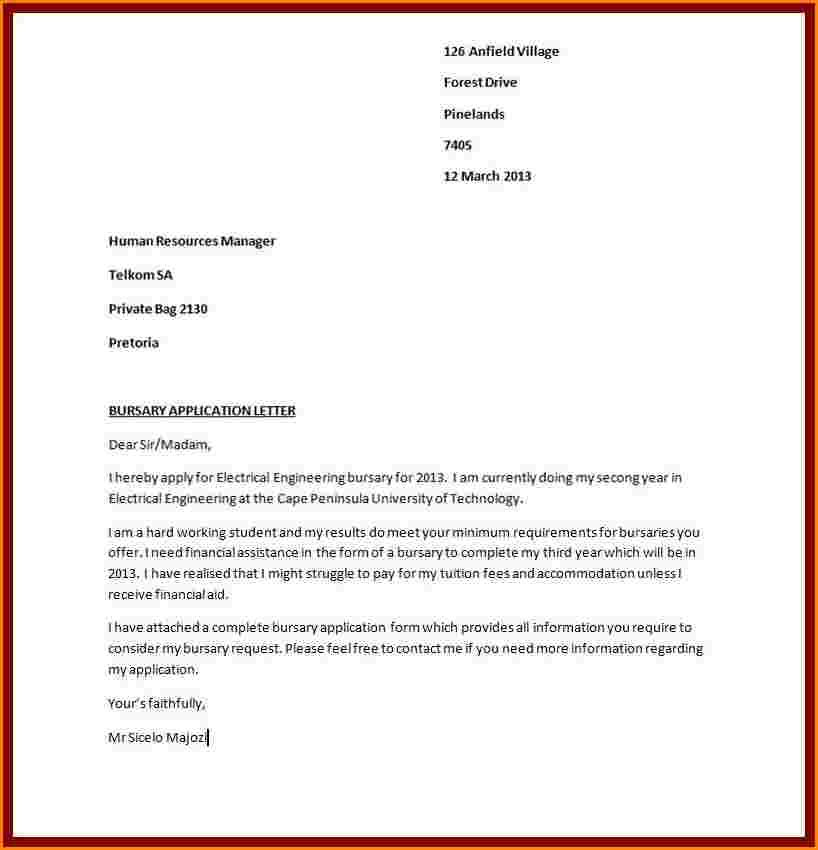 application format for applying job pdf bursary letter sample write