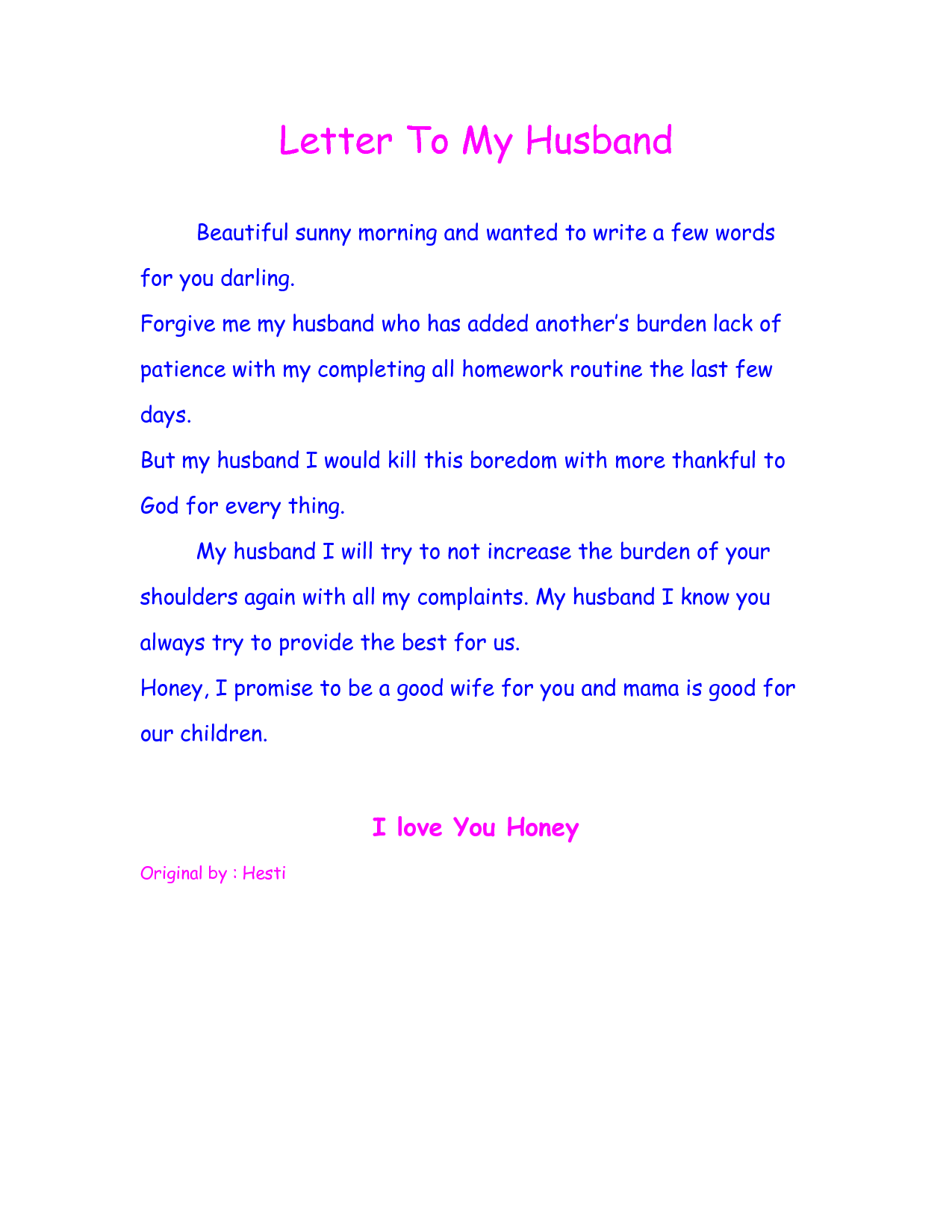 Loving Words to My Husband