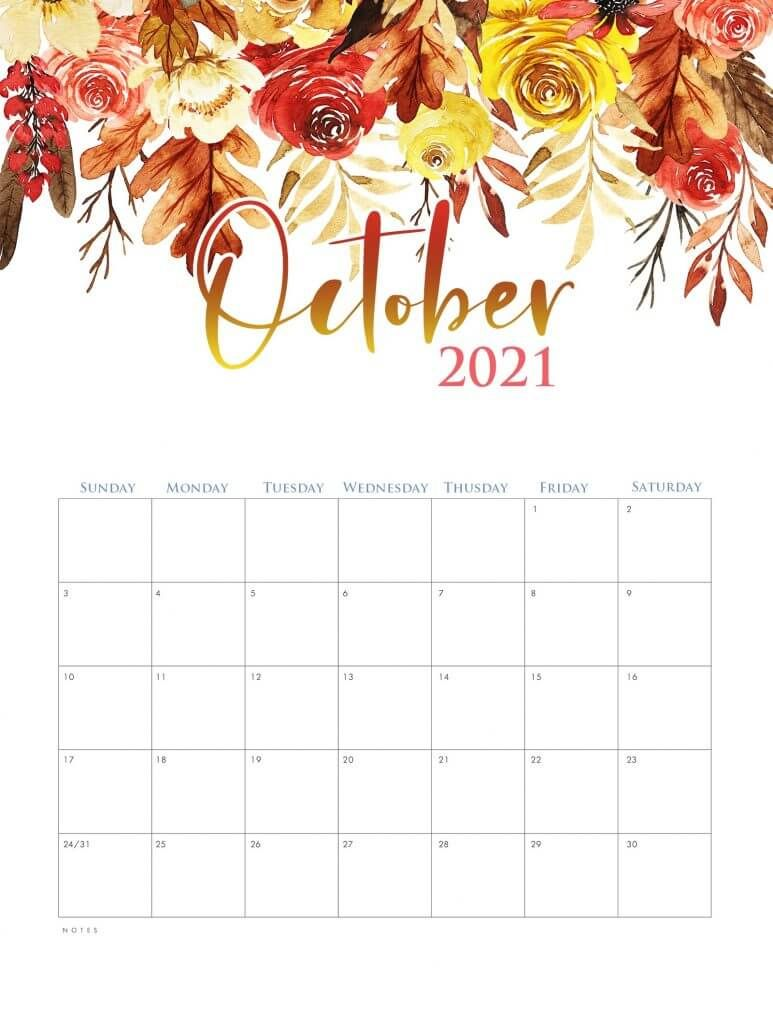 Blank October Calendar 2021 Watercolor October 2021 Calendar | Print calendar, Calendar