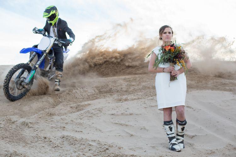 Riding Circles Around The Bride Motocross Inspired Sand Dunes