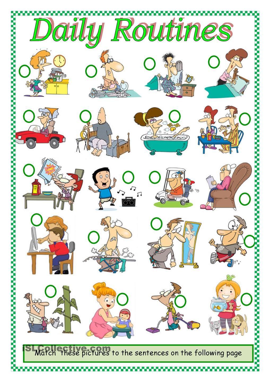 DAILY ROUTINES worksheet Free ESL printable worksheets