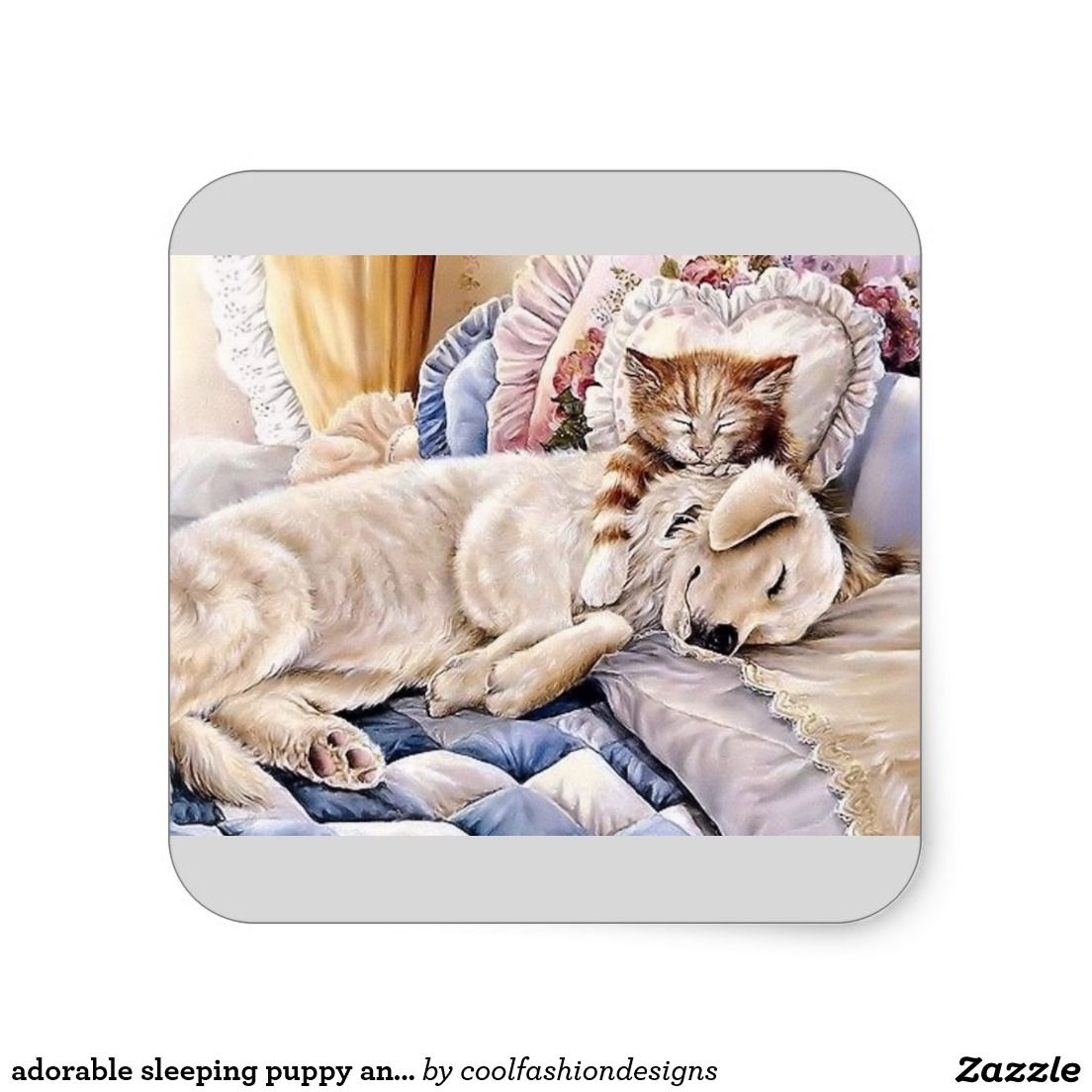 adorable sleeping puppy and kitten square sticker