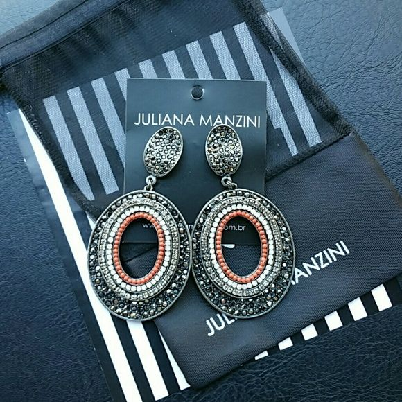 J.Manzini earrings Antique gold plated metal. Made with crystals in black diamond, white opal and orange colors. Juliana Manzini - Brazil Jewelry Earrings