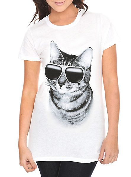 Fitted white tee with sophisticated cat person design.; 100% cotton; Wash warm; dry low