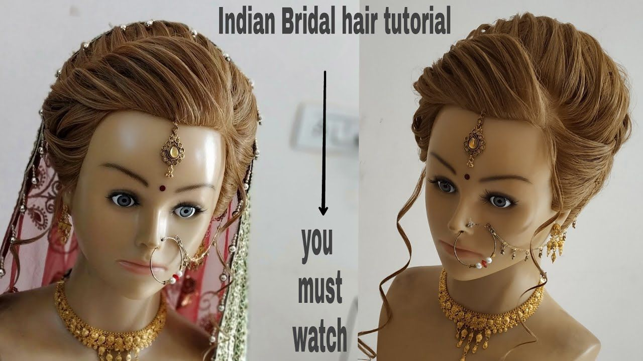 Bridal Hair Tutorial Step By Step Indian Bridal Hairstyles Wedding Hairs Indian Bridal Hairstyles Hair Styles Indian Wedding Hairstyles