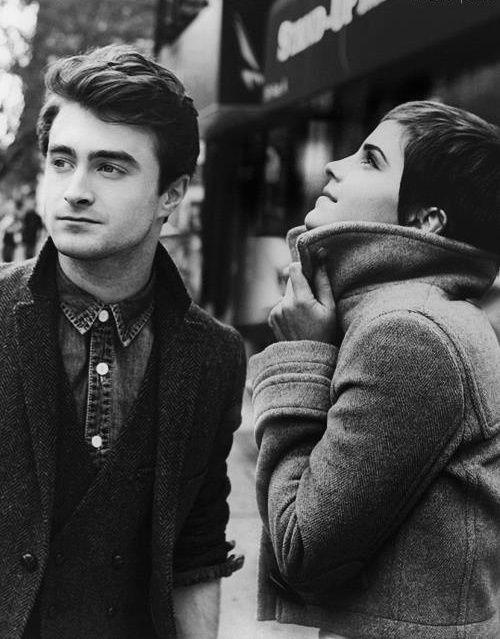 Emma Watson and Daniel Radcliffe on a brisk day.
