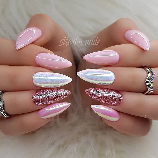 Photo of Mix nail design for almond nail shape. Are you a fan of an almond nails shape? To tell the truth, we adore how feminine and soft this nail shape appears, making your fingers seem longer than they are. Today we will discuss which nail designs will work great for this nail shape. You will wish to try them all for sure! #naildesigns #almondnails #nailideas
