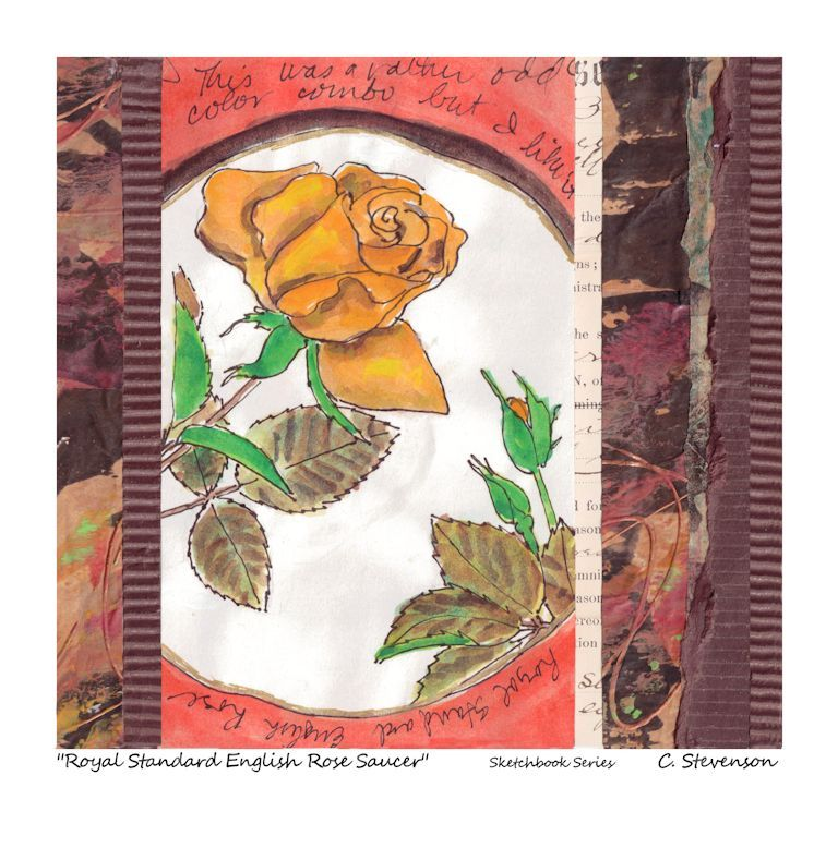 ROYAL STANDARD ENGLISH ROSE. One of 10 small original collages in my Sketchbook Series. Each watercolor sketch is accent each sketch with my handmade, -painted and -embellished papers. 50% off at the Midwinter Market today, $55.