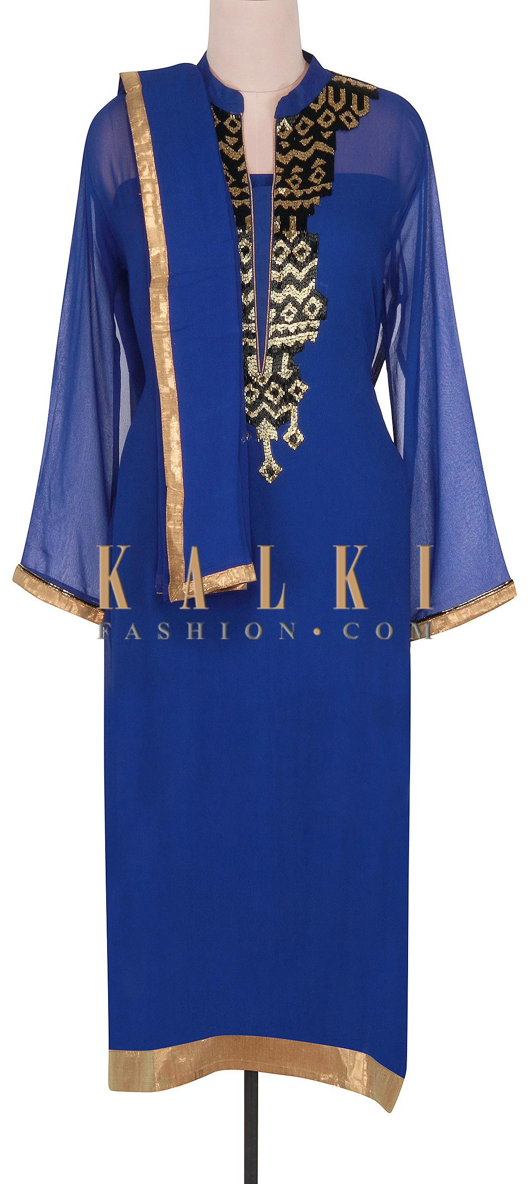 Buy Online from the link below. We ship worldwide (Free Shipping over US$100). http://www.kalkifashion.com/navy-blue-semi-stitched-suit-adorn-in-kardana-only-on-kalki.html