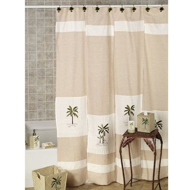 Fiji II Palm Tree Tropical Shower Curtain By Croscill