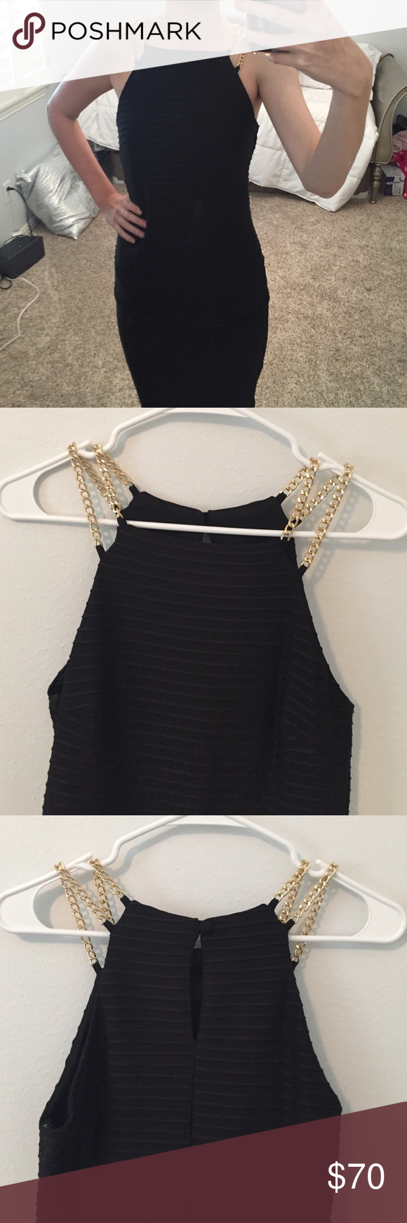 Black chain dress nwot tight black dress knee length with gold chain