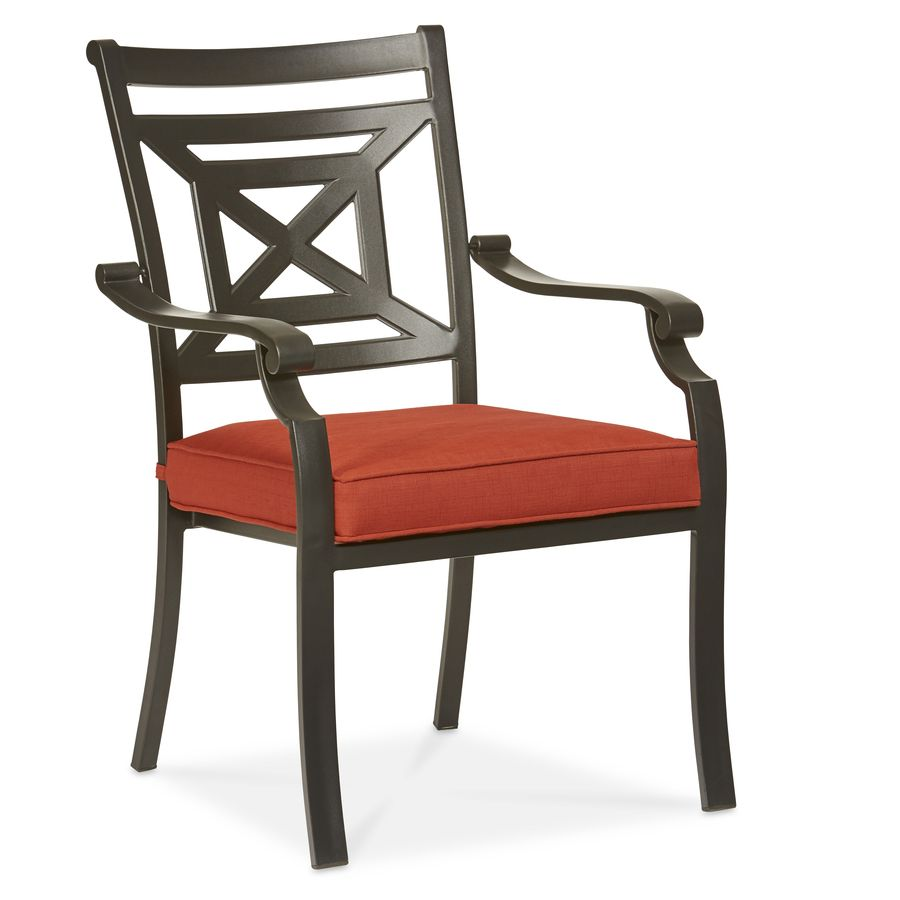 Allen + Roth Kingsmead 4 Count Black Steel Stackable Patio Dining Chairs  With Red Cushions Part 51