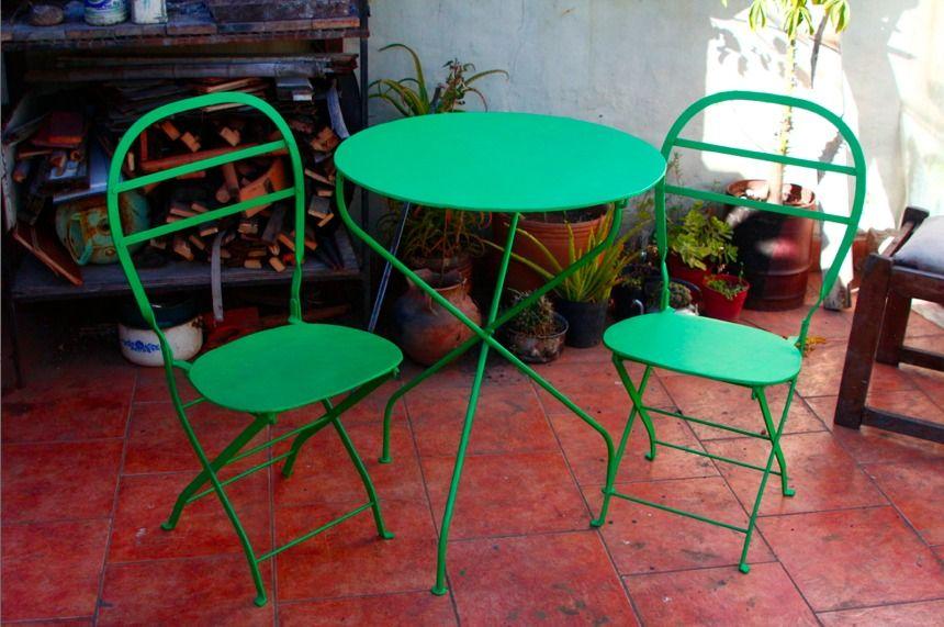 silla o mesa metalica plegable antigua tipo quilmes