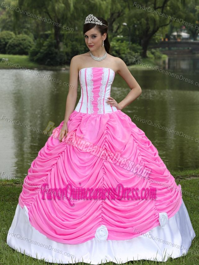 2014 Pink and White Quinceanera Dress with Layers and Hand Made ...