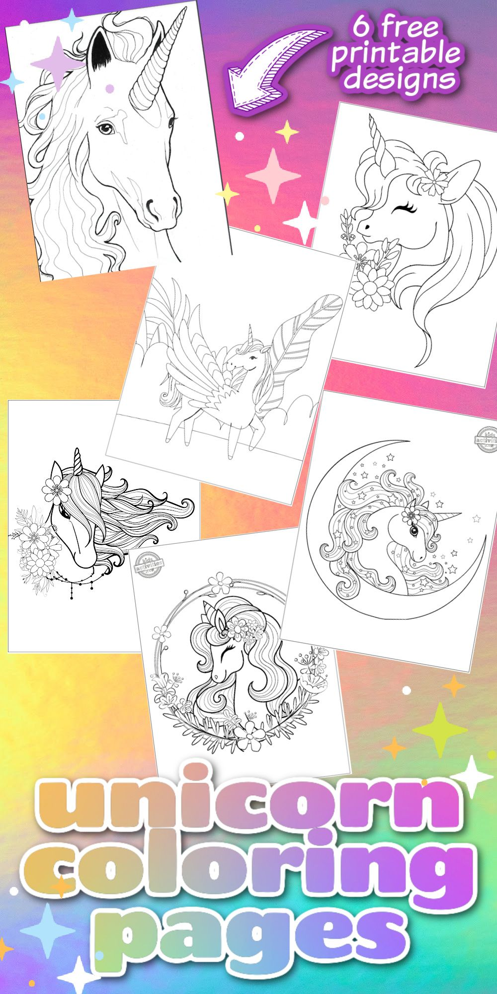 6 Amazing Unicorn Coloring Pages For Kids Free To Download Print In 2021 Unicorn Coloring Pages Coloring Pages Coloring Pages For Kids
