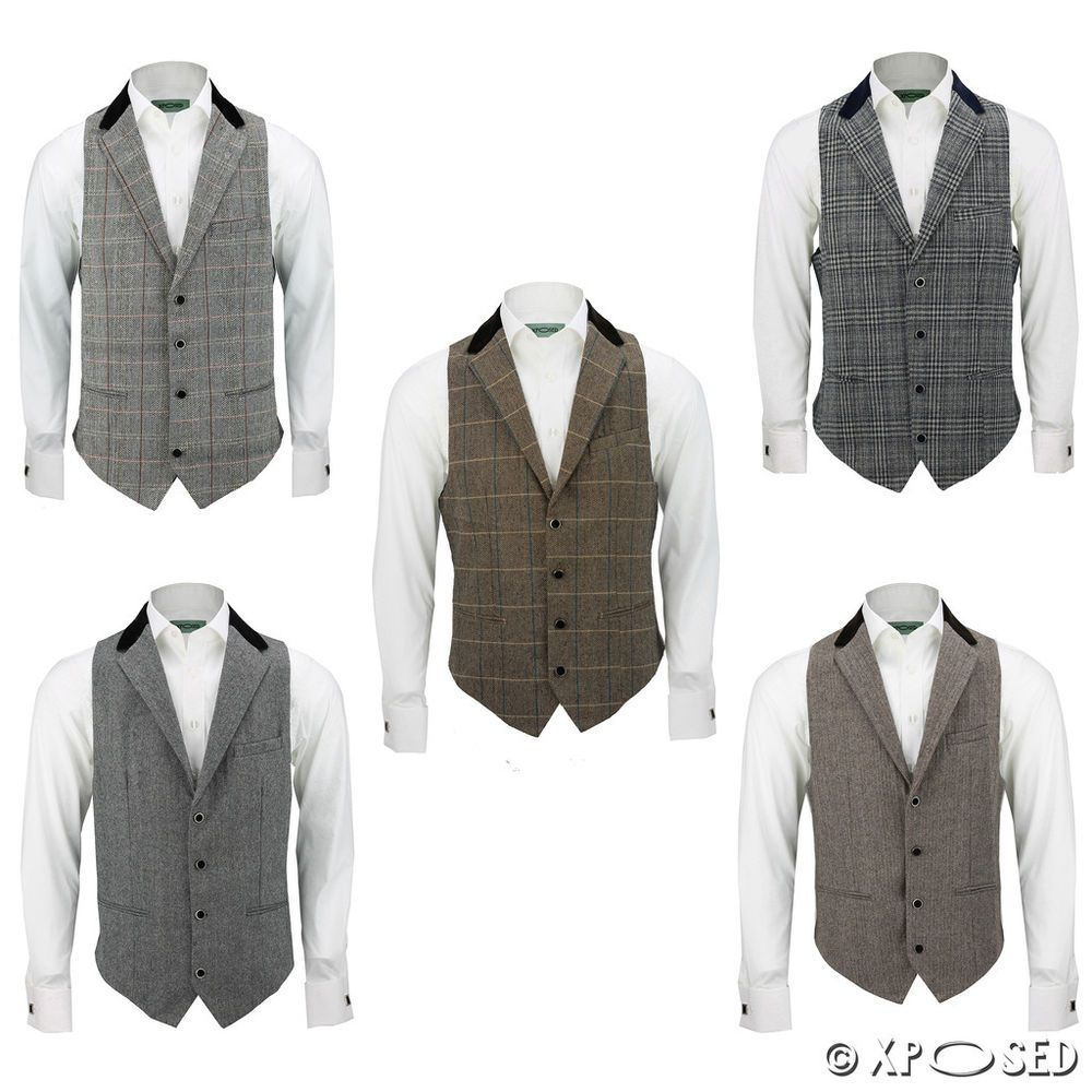 3b77734d288 Details about Mens Velvet Collar Grey Brown Herringbone Tweed Check ...