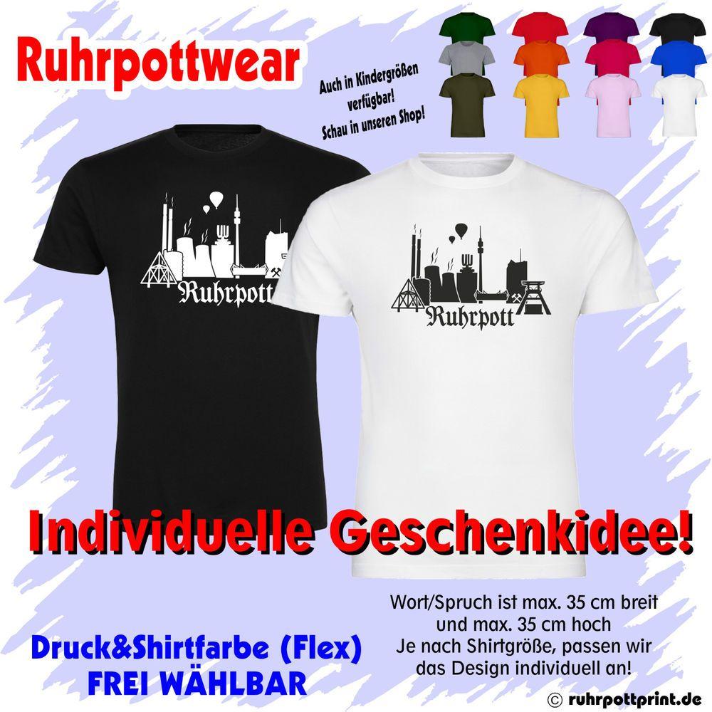 T-Shirt mit Ruhrpott Skyline individuell gestaltbar in 29 Farben - Geschenkidee
