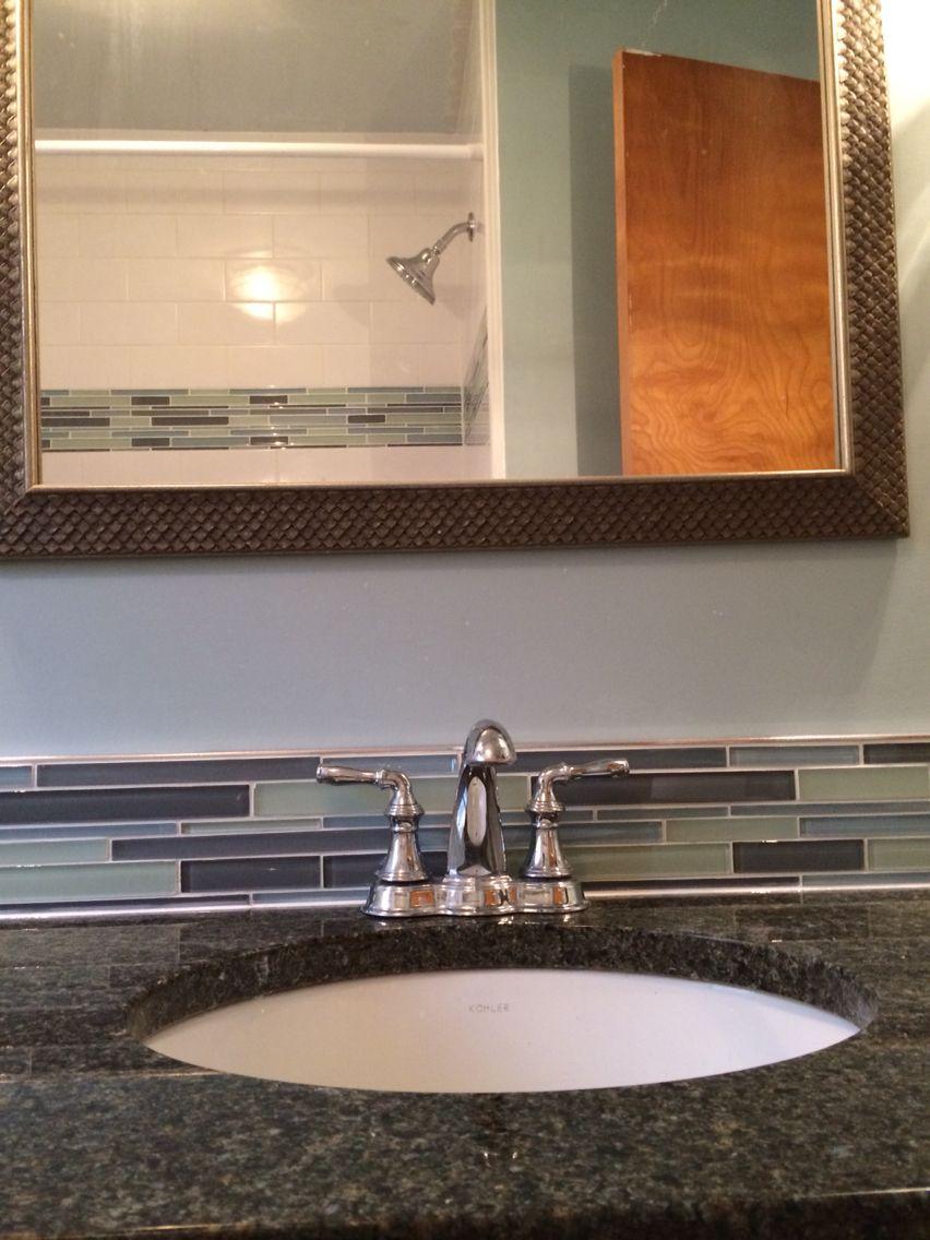 Glass Mosaic Tile Vanity Backsplash To Match Tub Surround Banner