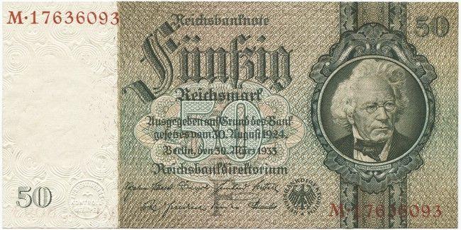 50 Reichsmark 1933 (Hansemann), Serie F/M mit 8 Stellen