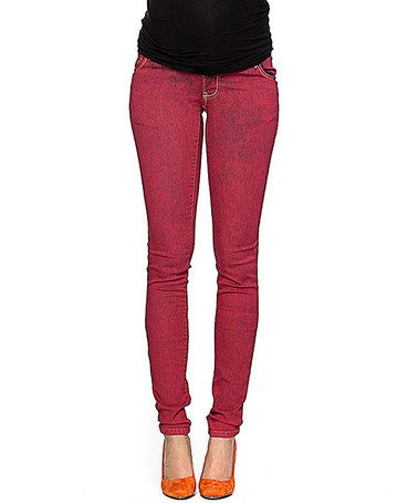 Look at this #zulilyfind! Red Acid Wash Maternity Skinny Jeans #zulilyfinds