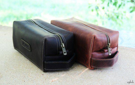 c2c4ee312fbd Groomsman Gift Waxed Leather men s toiletry bag  Shaving Bag   Cognac  leather dopp Kit