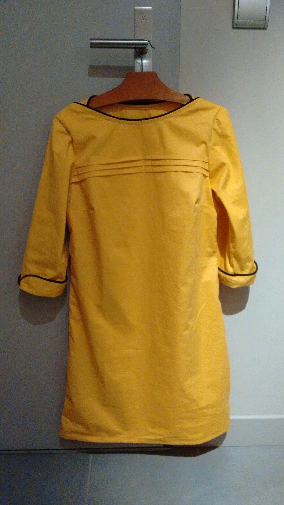 Robe New York Patron Charlotte Auzou Tissu Coton Couleur Curcuma Et Passepoil Noir Couture Fashion Shirt Dress
