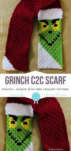 Grinch C2C Scarf Free Crochet Pattern #grinchscarfcrochetpatternfree