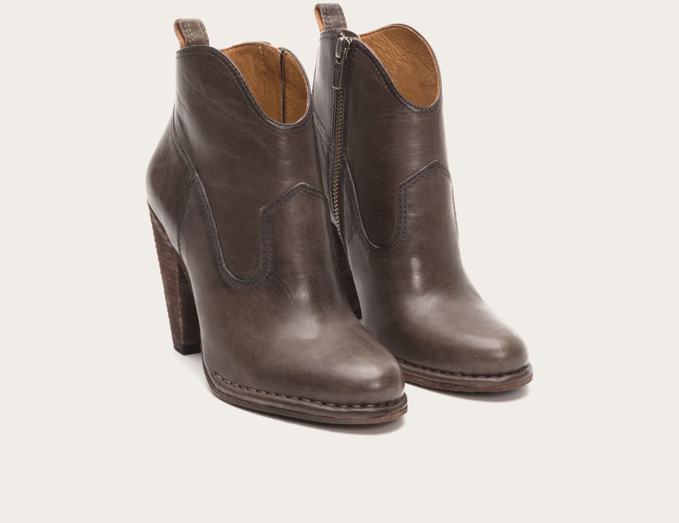Frye-Madeline Short Ankle Boots (smoke leather)