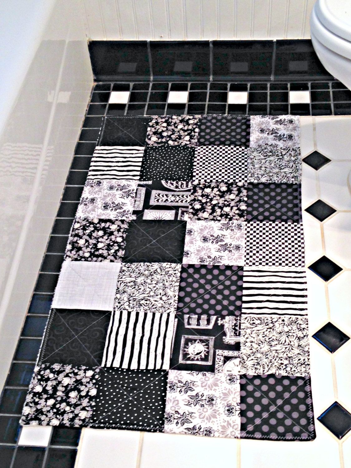 Black And White Bathroom Rug, Patchwork Bath Mat, Shower Mat, Laundry Room  Rug
