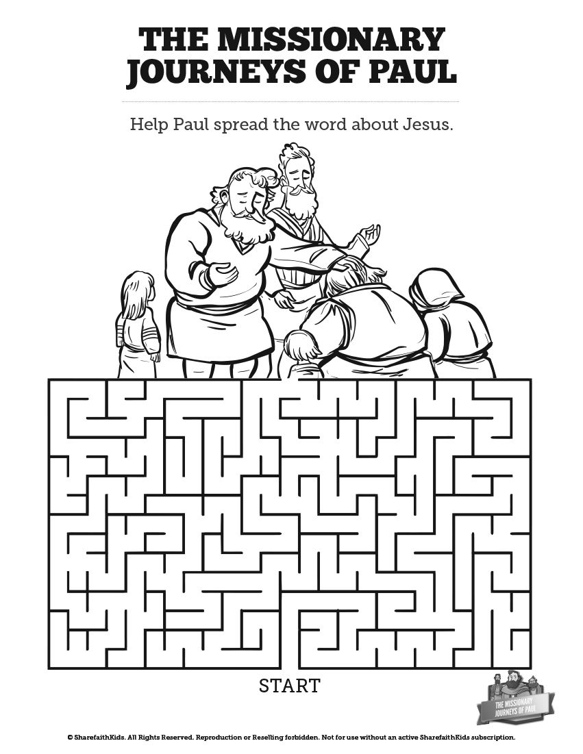 The Missionary Journeys of Paul Bible Mazes: Can your kids
